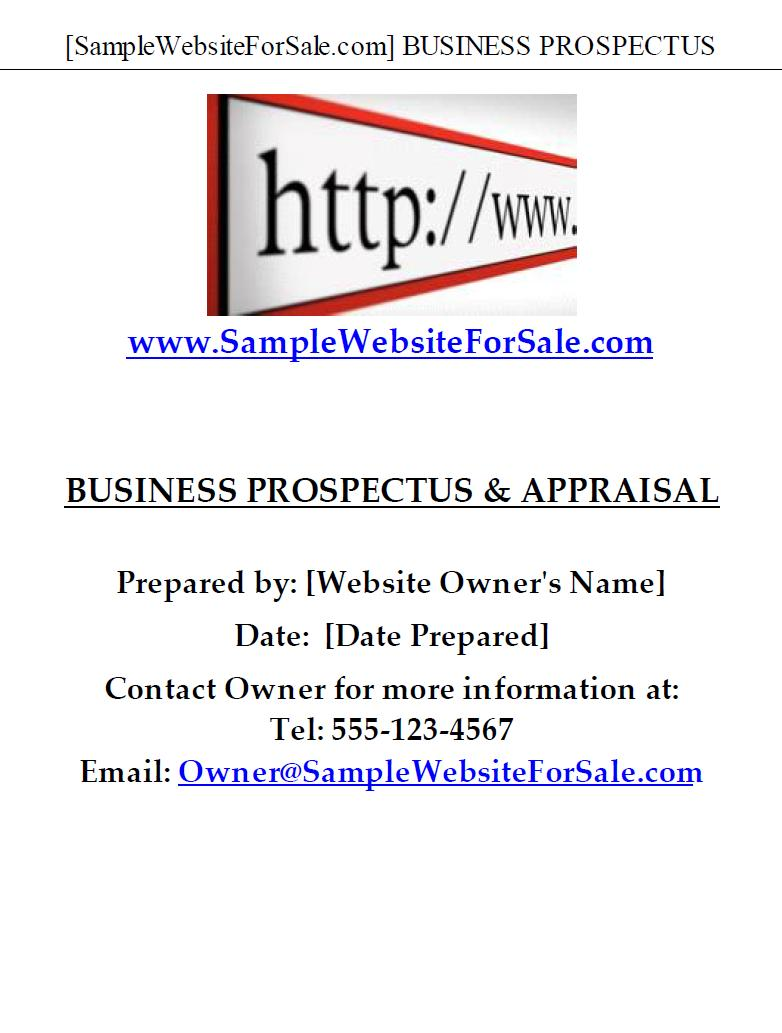 Sample Website for Sale Prospectus and Appraisal Report