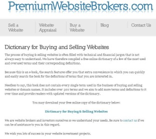 Dictionary for Buying and Selling Websites